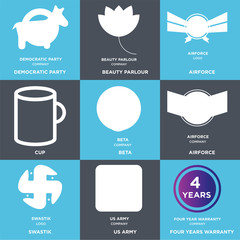 Set Of 9 simple editable icons such as four years warranty, us army, swastik