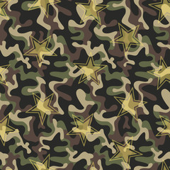 Seamless military camouflage texture. Army green hunting, camouflage background for textiles and design. Vector graphic illustration. Fashionable style