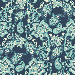 Floral paisley seamless pattern. damask vector background