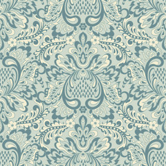 Seamless Vector floral wallpaper. Classic Baroque floral ornament.