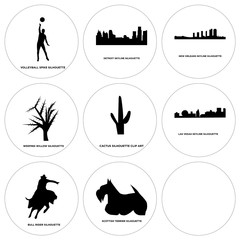 Set Of 9 simple editable icons such as scottish terrier, car, bull rider