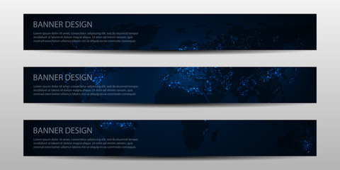 Vector banners with night world map.