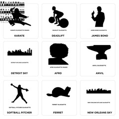 Set Of 9 simple editable icons such as new orleans sky, ferret, softball pitcher