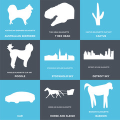 Set Of 9 simple editable icons such as baboon, horse and sleigh, car