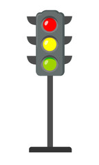 Icon cartoon traffic light. Signals with red light above yellow and green. Isolated on white background. Vector