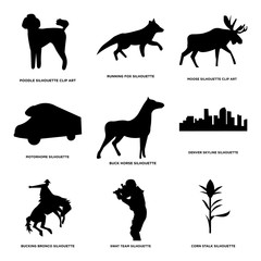 Set Of 9 simple editable icons such as corn stalk, swat team, bucking bronco