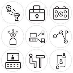 Set Of 9 simple editable icons such as Teamwork, Meeting, Video conference