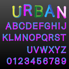 3d gradient colors alphabet font template