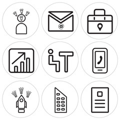 Set Of 9 simple editable icons such as Newspaper, Building, Startup