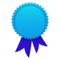 Blue award ribbon rosette blank reward medal. Achievement badge winner best template design element empty. 3d illustration