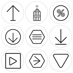 Set Of 9 simple editable icons such as Down arrow, Youtube, Play