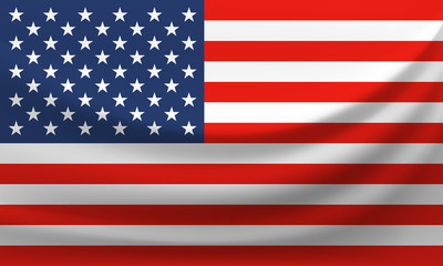 Waving national flag of United States of America. Vector illustration