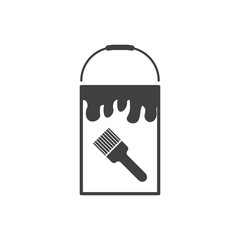 Bank icon with paint. Vector on white background