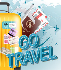 Go travel concept. Vector illustration with yellow bag