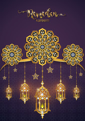 Ramadan Kareem greeting background Islamic with gold patterned and crystals on paper color background.