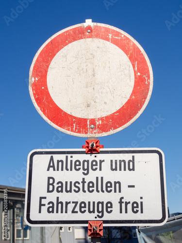 Durchfahrt verboten, passage forbidden, Verkehrsschild, mit