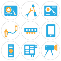 Set Of 9 simple editable icons such as Video camera, Microchip, Computer