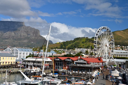 Victoria and Alfred Waterfront scenic view in Cape Town, South Africa