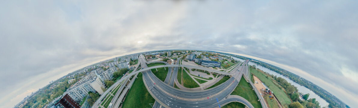 Summer Riga city 360 VR Drone picture for Virtual reality, Drone Panorama