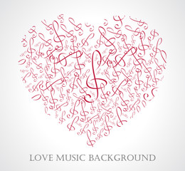 vector illustration of musical heart with notes and music signs