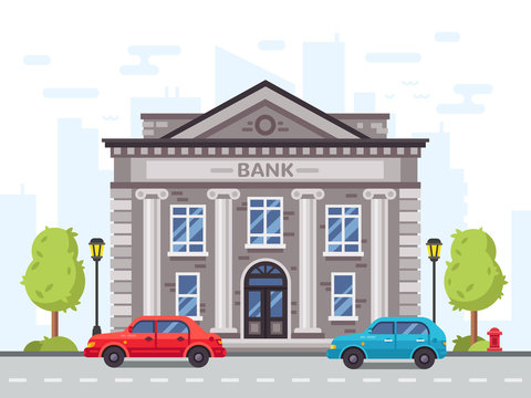 Cartoon bank or government building with roman columns. Money loan house vector illustration