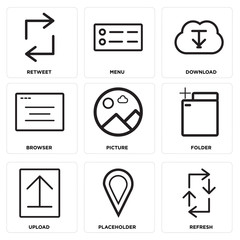 Set Of 9 simple editable icons such as Refresh, Placeholder, Upload
