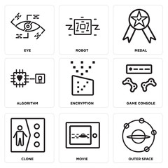 Set Of 9 simple editable icons such as Outer space, Movie, Clone