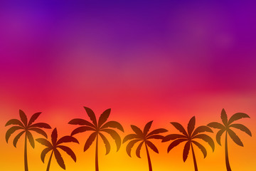 Tropical paradise - summer poster with palm trees and copyspace. Vector.