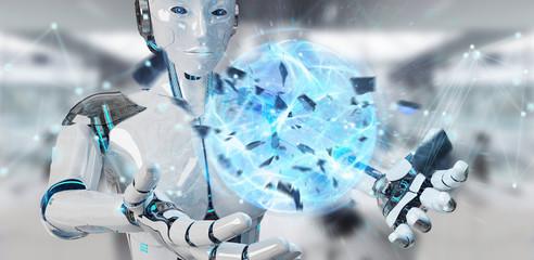 White woman robot creating energy ball 3D rendering
