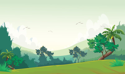 illustration of Forest scene at day time