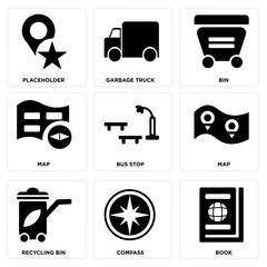 Set Of 9 simple editable icons such as Book, Compass, Recycling bin