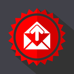 Email red sticker flat design vector icon