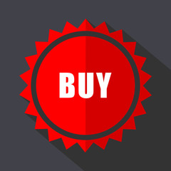 Buy red sticker flat design vector icon