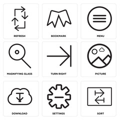 Set Of 9 simple editable icons such as Sort, Settings, Download