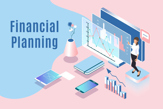 Financial planning vector illustration with isometric woman character, devices, graphs and charts. Business concept of working process. Presentation of data analysis using technology and software