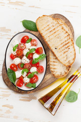 Caprese bruschetta toasts cooking