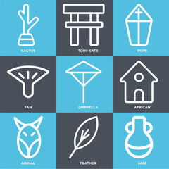 Set Of 9 simple editable icons such as Vase, Feather, Animal