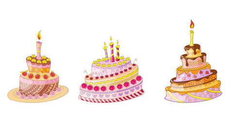 set of the doodle birthday cakes