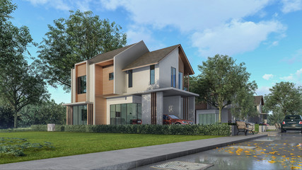 3D Rendering Architectural House Design