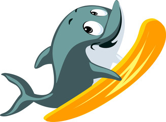 Dolphin cute flat design surfing isolated on white background