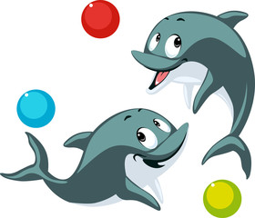 ..dolphin playing with ball cartoon flat design vector illustration isolated on white..Dolphin playing with ball cartoon flat design vector illustration isolated on white