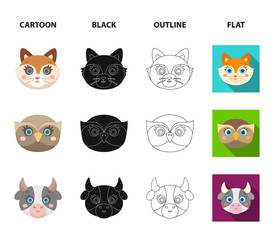 Owl, cow, wolf, dog. Animal muzzle set collection icons in cartoon,black,outline,flat style vector symbol stock illustration web.