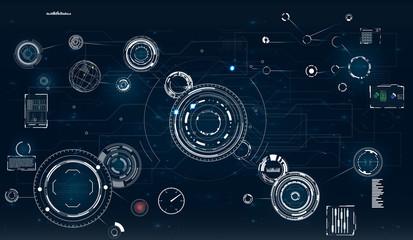 HUD. Radar screen.circle infographic interface screen monitor radar set web elements. Technology background.