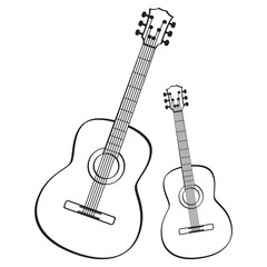 Guitar music instrument icon black and white