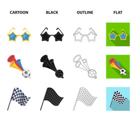 Pipe, uniform and other attributes of the fans.Fans set collection icons in cartoon,black,outline,flat style vector symbol stock illustration web.