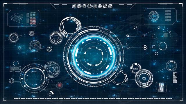 Radar screen. HUD. Futuristic user interface.Vector illustration for your design. hi-tech main.