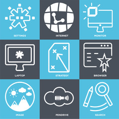 Set Of 9 simple editable icons such as Search, Pendrive, Image