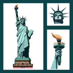 Statue of Liberty USA. ART. New York landmark. The bronze sculpture. Set three illustrations. postcard and flyer,Green logo on a white background.American symbol.Best sets, templates.logo, icon,EPS 10