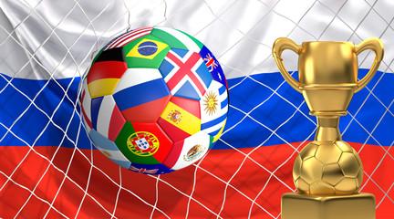 soccer flags ball with golden trophy in soccer net. Goal 3D illustration