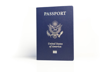 A US Passport on a white background.